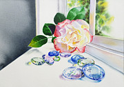 Floral Still Life Originals - Rose and Glass Rocks by Irina Sztukowski