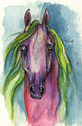 Horse Drawings - Rose And Green Horse 28 10 2013 by Angel  Tarantella