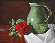Rose And Green Jug Still Life Print by Daniel Kansky