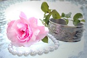 Still Life Photographs Posters - Rose and Pearls Poster by Barbara  White