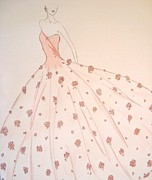 Ball Gown Drawings Framed Prints - Rose Ball Gown Framed Print by Christine Corretti
