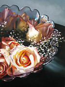 Floral Pastels Originals - Rose Bowl by Dianna Ponting