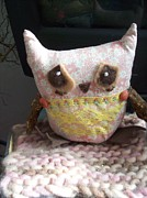 Toys Pyrography Prints - Rose Bud Sad Owl Print by Katie Thomas