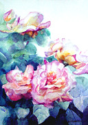 Rose Garden Paintings - Rose bush by Greta Corens