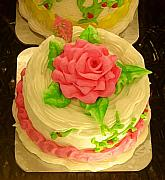 Frosting Digital Art Posters - Rose Cakes Poster by Amy Vangsgard
