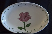 Rose Ceramics - Rose Ceramic Serving Tray by Jacqueline Athmann