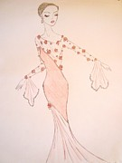 Gown Drawings - Rose Chiffon by Christine Corretti