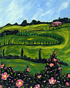 Tuscan Hills Paintings - Rose Colline e Cipressi by Seonaid  Ross