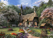 Thatched Cottage Prints - Rose Cottage Print by Dominic Davison