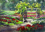 Garden Scene Paintings - Rose Garden Arbor by Vickie Fears