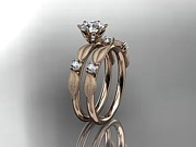Engagement Jewelry Originals - Rose Gold Diamond Unique Leaf And Vine Engagement Ring Wedding Ring  by Anjays Designs