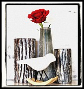 Red Rose Digital Art - Rose in a Metallic Forrest by Marsha Heiken
