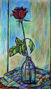 Cloth Pastels Posters - Rose in Bottle Again Poster by Kendall Kessler