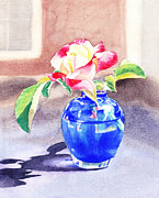 Flora Painting Originals - Rose in the Blue Vase  by Irina Sztukowski
