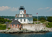 Rose Island Lighthouse Print by Nancy  de Flon