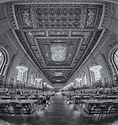 Rose Main Reading Room Prints - Rose Main Reading Room At The NYPL bw Print by Susan Candelario