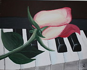Piano Keys Painting Originals - Rose on Piano by Nicole Caruso