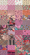Sewing Tapestries - Textiles Metal Prints - Rose Quilt Background Metal Print by Yana Vergasova
