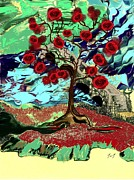 Jan Steadman-jackson Posters - Rose Tree Poster by Jan Steadman-Jackson