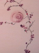 Tendrils Pastels Prints - Rose Vine Print by Christine Corretti