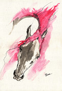 Drawing Painting Originals - Rose wild horse acrylic painting 16 07 2013 by Angel  Tarantella