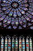 BERNARD JAUBERT - Rose Window . Famous stained glass window inside Notre Dame Cathedral. Paris