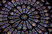 BERNARD JAUBERT - Rose Window .Famous stained glass window inside Notre Dame Cathedral. Paris