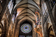 Alsace Framed Prints - Rose window of Strasbourg Cathedral Framed Print by Oscar Gutierrez