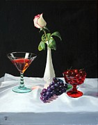 Rose Wine Paintings - Rose wine and fruit by Glenn Beasley