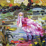 Spoonbill Paintings - Roseate Spoonbill Florida Birds Oil Painting by Ginette Callaway