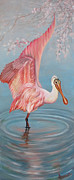 Creature Digital Art Originals - Roseate Spoonbill by Jean R Brown