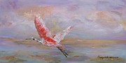 Spoonbill Drawings - Roseate Spoonbill by Nancy Robinson