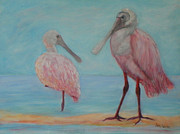 Spoonbill Paintings - Roseate Spoonbills In Florida by Patty Weeks