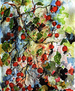 Expressive Floral Prints - Rosehips by Ginette Watercolor and Ink Print by Ginette Callaway