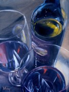 Wine Bottle Paintings - Rosenblum and Glasses by Donna Tuten