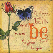 Text Mixed Media Prints - Roses and Butterflies 1 Print by Debbie DeWitt