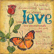 Love Mixed Media Posters - Roses and Butterflies 2 Poster by Debbie DeWitt