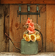 Watering Can Mixed Media - Roses and Gladiolus  by Marjorie Imbeau