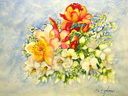 Oleanders Paintings - Roses and Oleanders by Sandra Stone
