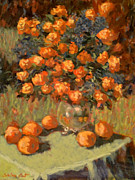 Most Popular Paintings - Roses and peaches by Monica Caballero
