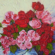 Paris Wyatt Llanso Posters - Roses and Peonies in a Vase Poster by Paris Wyatt Llanso