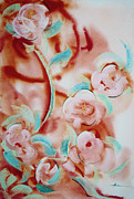 Abstracted Mixed Media Prints - Roses and Rust Print by Asha Carolyn Young