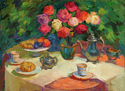 Fruit And Wine Originals - Roses and Tea by Diane McClary