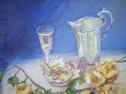 Old Pitcher Painting Prints - Roses and Tea Print by Patricia Kimsey Bollinger