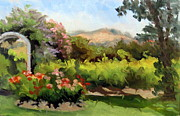 Grapevines Paintings - Roses and Vineyards by Char Wood