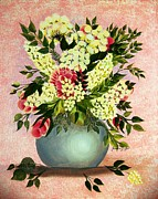 Womanly Painting Prints - Roses and White Lilacs Print by Barbara Griffin