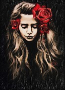 Sugar Skull Digital Art - Roses are Red by Sheena Pike