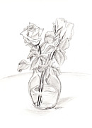 Tabletop Drawings Framed Prints - Roses Framed Print by Baruch Y Lebovits