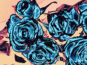 Blooming Digital Art Prints - Roses For A Blue Lady  Print by Wendy J St Christopher