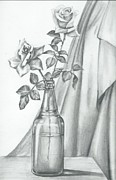 Glass Bottle Drawings Framed Prints - Roses Framed Print by Gayatri Ketharaman